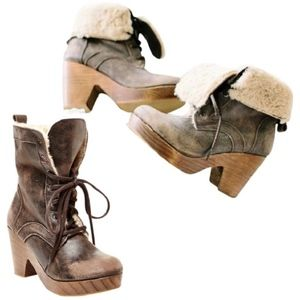 FREEBIRD by Steven Fiona Fur Lace-up Boots